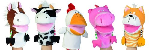 Manhattan Toy Country Critters - Trotter Horse, Clover Cow, Charlie Chicken, Pinkie Pig and Tabby Cat