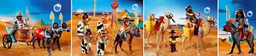 Playmobil Egyptian Chariot, Egyptian Soldiers, Two Robbers with Camels and Robber with Horse