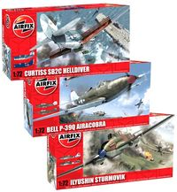 Airfix Curtiss SB2C Helldiver, the Bell P-39Q Airacobra and the Ilyushin Sturmovik